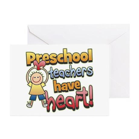 Preschool Teacher Heart Greeting Cards (Pk of 10)
