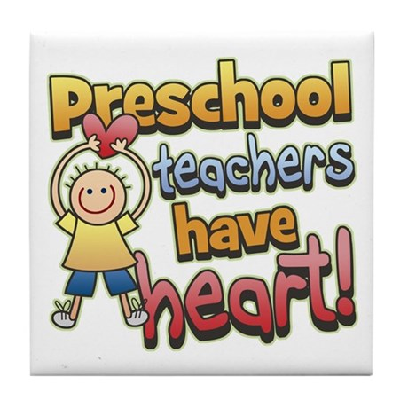Preschool Teacher Heart Tile Coaster