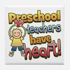 Preschool Teacher Heart Tile Coaster