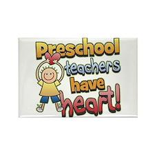 Preschool Teacher Heart Rectangle Magnet