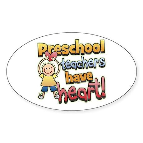 Preschool Teacher Heart Oval Sticker