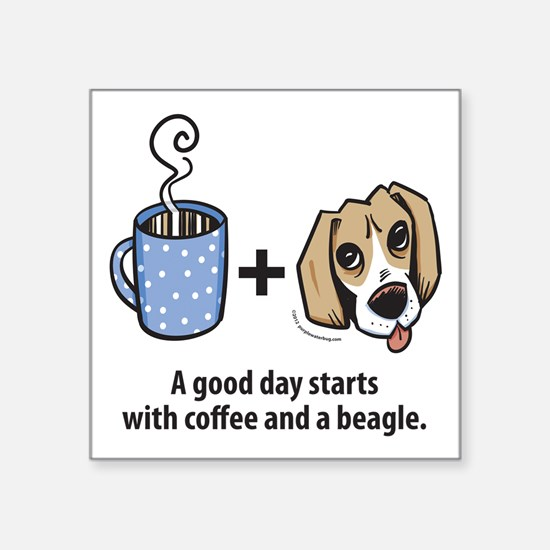 "beagle_coffeeforlight Square Sticker 3"" x 3"""