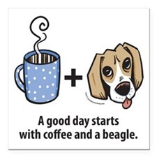 "beagle_coffeeforlight Square Car Magnet 3"" x 3"""