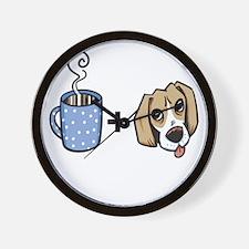 beagle_coffee_fordark Wall Clock