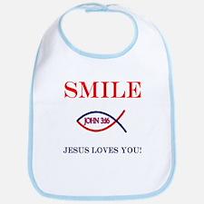 Smile Jesus Loves You Bib