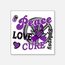 "D Peace Love Cure 2 Epileps Square Sticker 3"" x 3"""