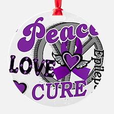 D Peace Love Cure 2 Epilepsy Ornament