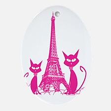 Paris cats Oval Ornament