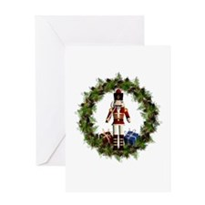 Red Nutcracker Wreath Greeting Cards
