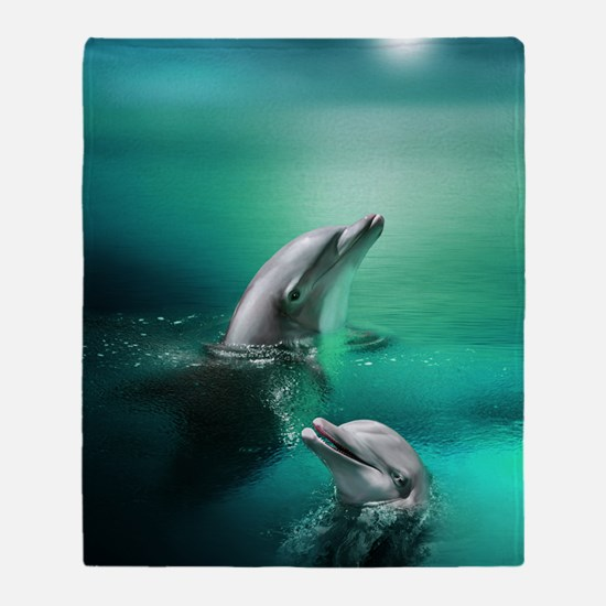 dolphins-cyan Throw Blanket