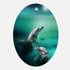 dolphins-cyan Oval Ornament