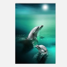 dolphins-cyan Postcards (Package of 8)