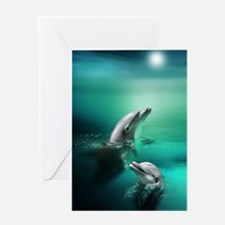 dolphins-cyan Greeting Card