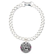 sugarskull pink backgrou Charm Bracelet, One Charm