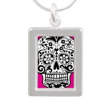 sugarskull pink backgrou Silver Portrait Necklace
