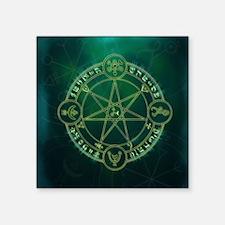 "Spell_Symbols_green_BOX Square Sticker 3"" x 3"""