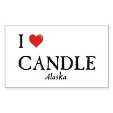 I Love Candle Rectangle Decal