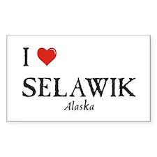 I Love Selawik Rectangle Decal