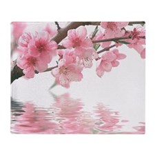 Flowers Water Reflection Throw Blanket