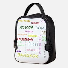Famous Cities Neoprene Lunch Bag