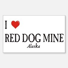 I Love Red Dog Mine Rectangle Decal