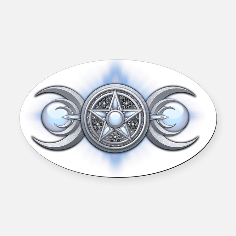 Triple Goddess - Moonstone - trans Oval Car Magnet