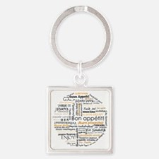 Bon appetit in many languages - Or Square Keychain