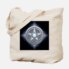 Pentacle - silver with moonstone - square Tote Bag