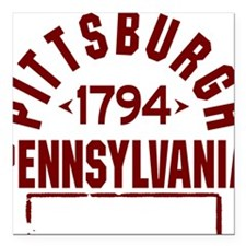 "Pittsburgh INC W Square Car Magnet 3"" x 3"""
