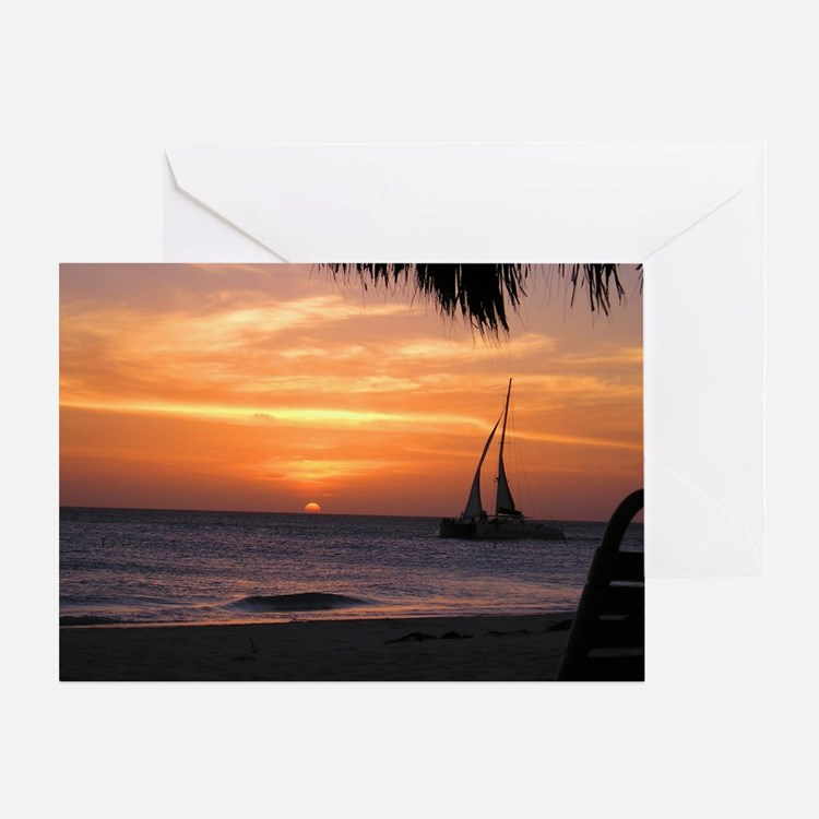 Aruba Sunset Sail-10 Greeting Card