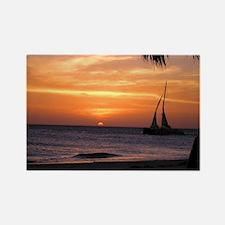 Aruba Sunset Sail-10 Rectangle Magnet