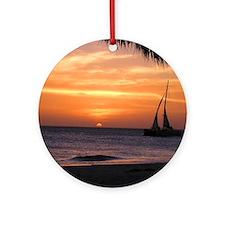 Aruba Sunset Sail-10 Round Ornament