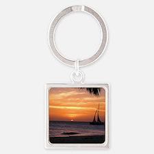 Aruba Sunset Sail-10 Square Keychain