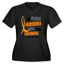 D SISTER Women's Plus Size Dark V-Neck T-Shirt