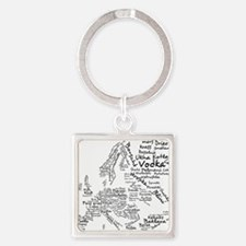 Food Map of Europe Square Keychain