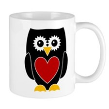 Black Owl With Red Heart Mug