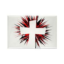 WHITE STARBURST CROSS Rectangle Magnet (100 pack)