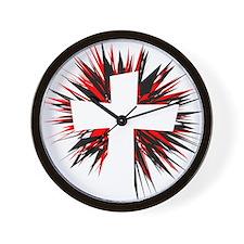 WHITE STARBURST CROSS Wall Clock
