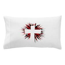 WHITE STARBURST CROSS Pillow Case