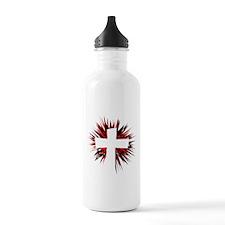 WHITE STARBURST CROSS Water Bottle