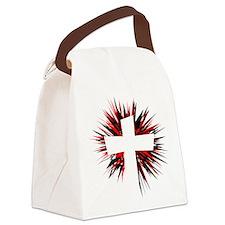 WHITE STARBURST CROSS Canvas Lunch Bag
