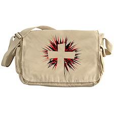 WHITE STARBURST CROSS Messenger Bag