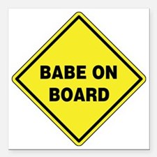 """Babe On Board Square Car Magnet 3"""" x 3"""""""