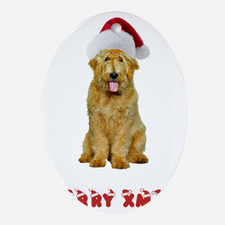 Goldendoodle Christmas Oval Ornament