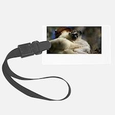 Lemur t-shirt White text Luggage Tag