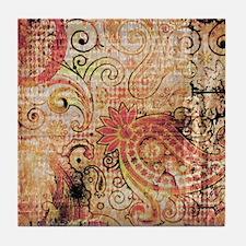 paisley grunge montage Tile Coaster