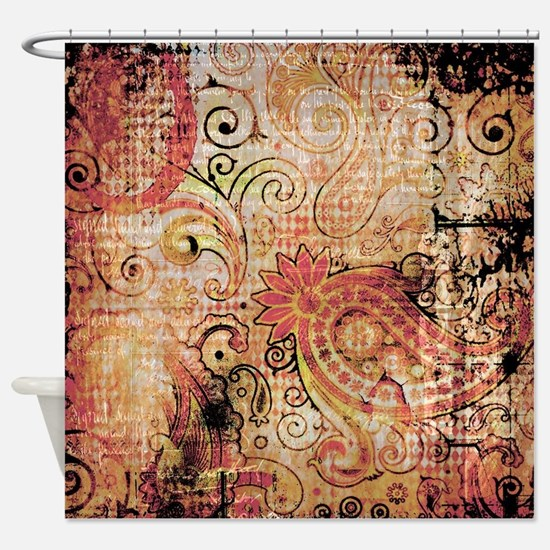 orange and black shower curtain. paisley grunge montage Shower Curtain Orange And Black Curtains  CafePress