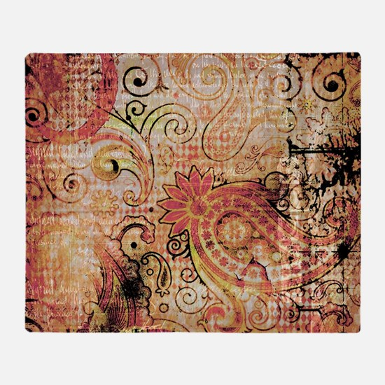 paisley grunge montage Throw Blanket