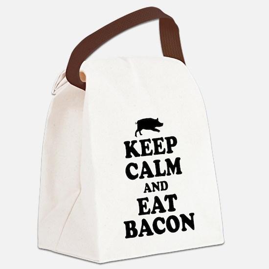 Keep Calm Eat Bacon Canvas Lunch Bag