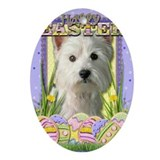 Westie dog easter Oval Ornaments